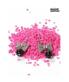 Mint Mint Ohrringe/ Perlen/ Pearl & bow earrings, silver 246-Black