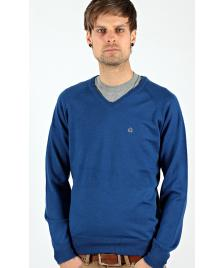 Merc Merc Pullover Conrad V-Neck Knit royal blue