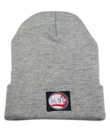 Klamottenstore Fat-Cap Kinder Mütze Logo Patch Beanie grey