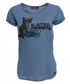 Derbe Frauen T-Shirt Derbe Kater grey melange