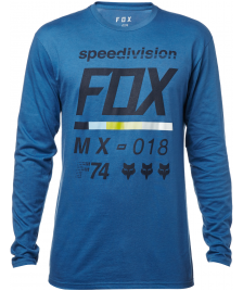 Fox Männer Longsleeve Fox Draftr Tech Tee dusyt blue