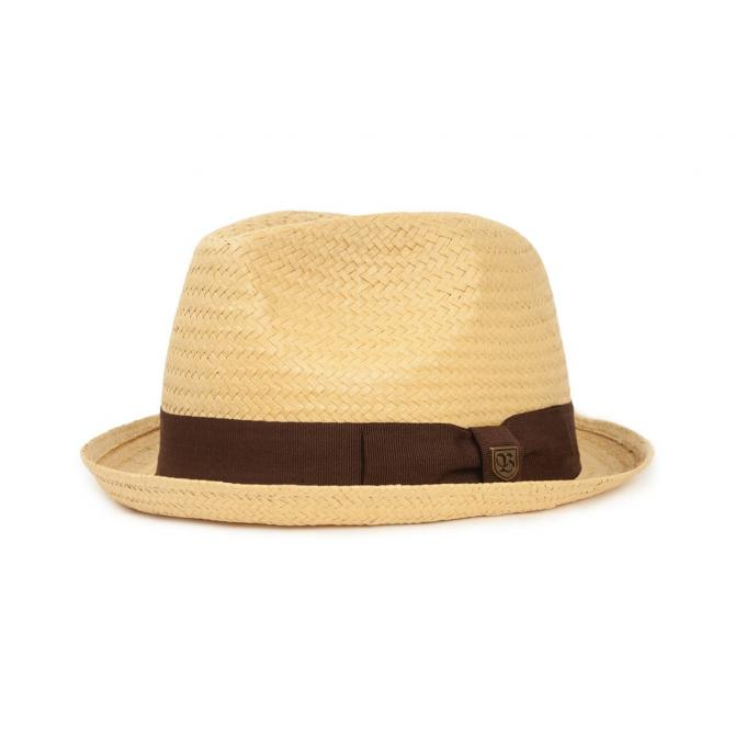 Brixton Castor Fedora Hat tan dark brown XS