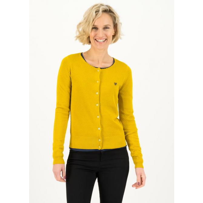 Blutsgeschwister Frauen Strickjacke Blutsgeschwister Save The Brave Cardy suited in yellow
