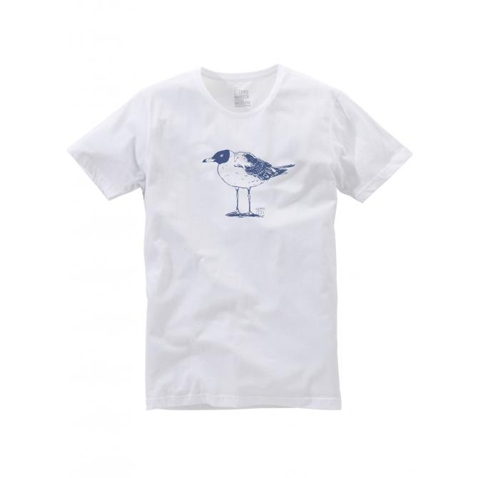 Cleptomanicx T-Shirt Men Scoop Neck Tee Lonely Gull white XS