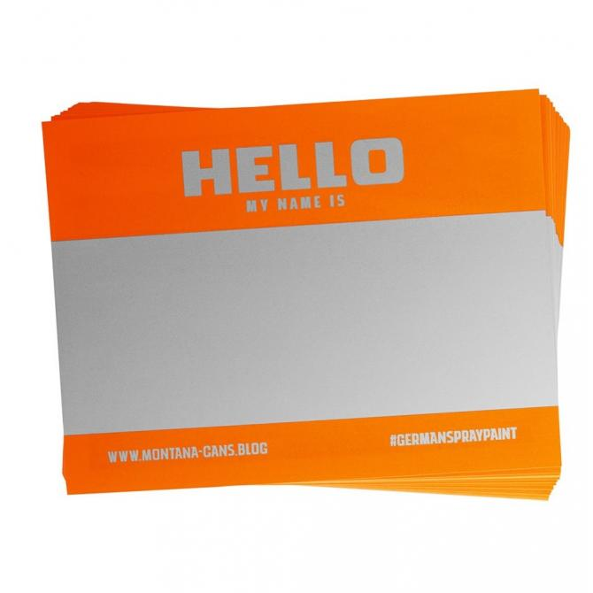 "Montana ""Hello my name is..."" Sticker 100er Pack neonorange"