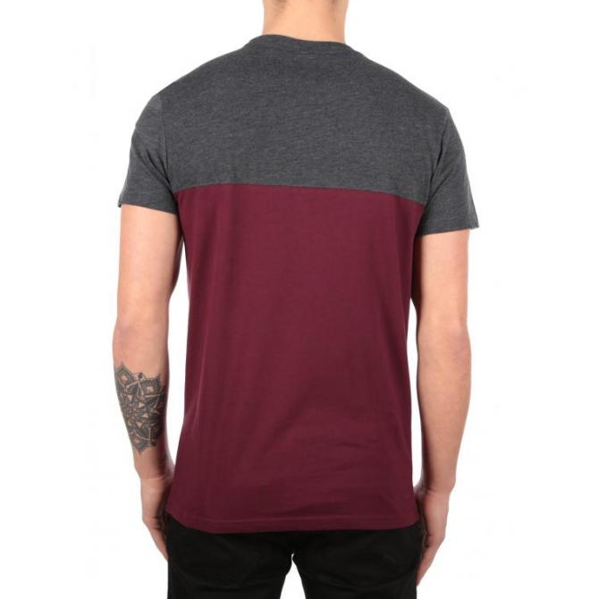 Iriedaily Männer T-Shirt Iriedaily Blocked Pocket Tee anthra red