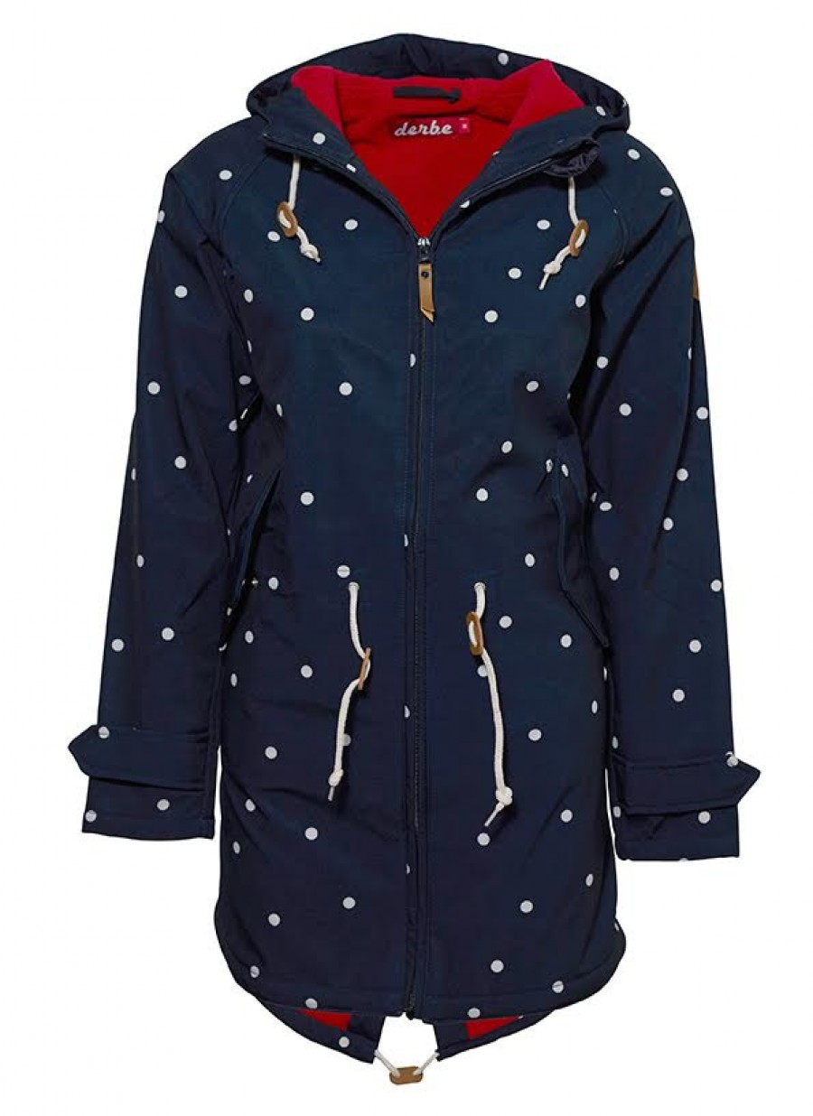 Frauen Jacke Derbe Island Friese Dots navy red XS